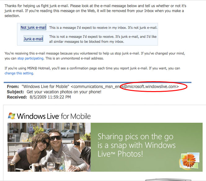 WindowsLive email