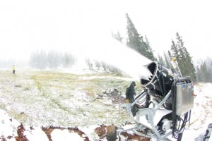 Snowmaking at Loveland in September
